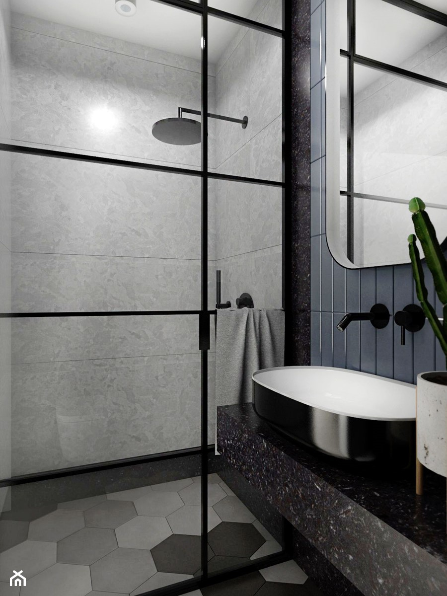 MIESZKANIE - GDAŃSK - NADMORSKIE - Mała czarna niebieska szara łazienka na poddaszu w bloku w domu jednorodzinnym bez okna, styl industrialny - zdjęcie od Autors.KA