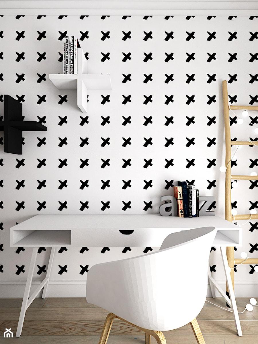 MIESZKANIE - GDAŃSK - NADMORSKIE - Mały biały czarny pokój dziecka dla chłopca dla dziewczynki dla ucznia dla nastolatka, styl skandynawski - zdjęcie od Autors.KA