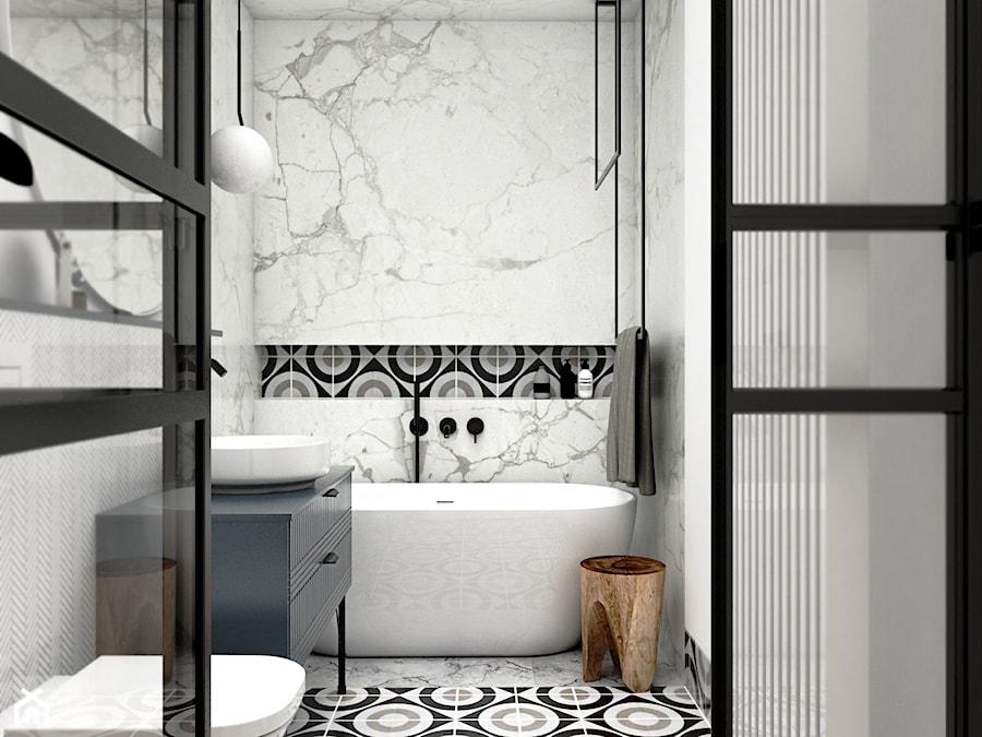 MIESZKANIE - GDAŃSK - NADMORSKIE - Mała czarna szara łazienka w bloku w domu jednorodzinnym bez okna, styl nowojorski - zdjęcie od Autors.KA