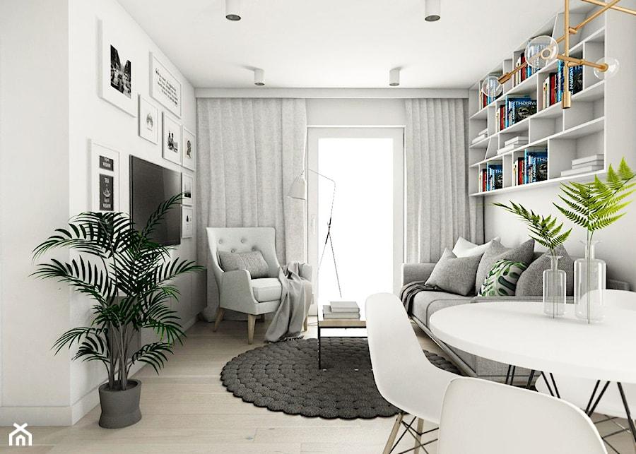 Mieszkanie - Gdańsk Oliwa - Mały biały salon z bibiloteczką z jadalnią z tarasem / balkonem, styl skandynawski - zdjęcie od Autors.KA
