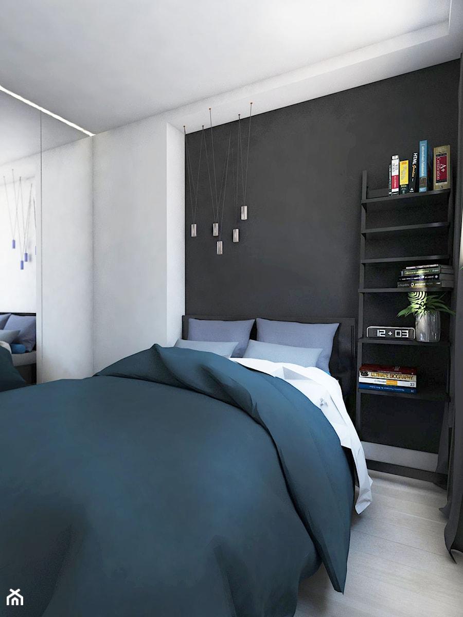 Mieszkanie - Gdynia Śródmieście - Mała biała czarna sypialnia małżeńska, styl skandynawski - zdjęcie od Autors.KA