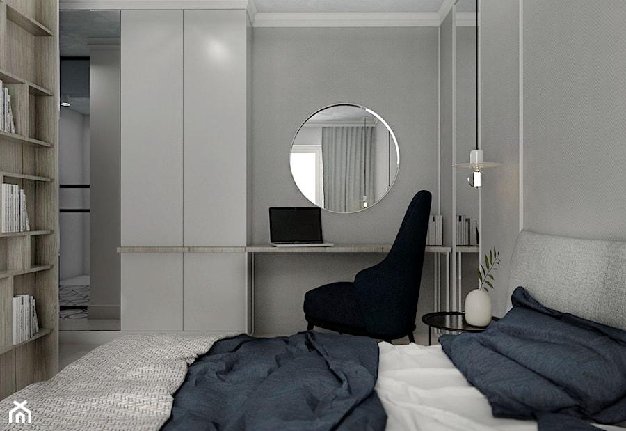 MIESZKANIE - GDAŃSK - NADMORSKIE - Średnia szara sypialnia małżeńska, styl nowojorski - zdjęcie od Autors.KA
