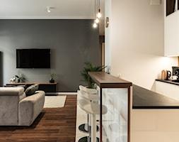 Apartament - Garnizon - Średni szary biały salon z kuchnią, styl nowoczesny - zdjęcie od Autors.KA - Homebook