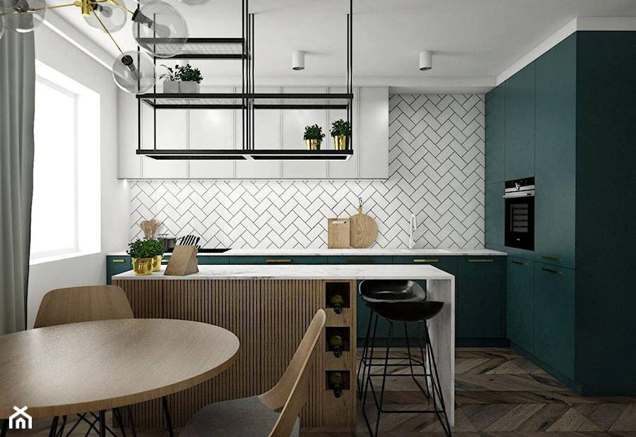 Mieszkanie - Gdańsk Nowa Morena - Średnia biała kuchnia w kształcie litery l w aneksie z wyspą z oknem, styl eklektyczny - zdjęcie od Autors.KA
