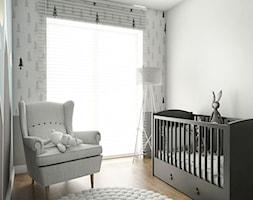Mieszkanie - Reda - Mały biały szary miętowy pokój dziecka dla chłopca dla niemowlaka, styl nowoczesny - zdjęcie od Autors.KA
