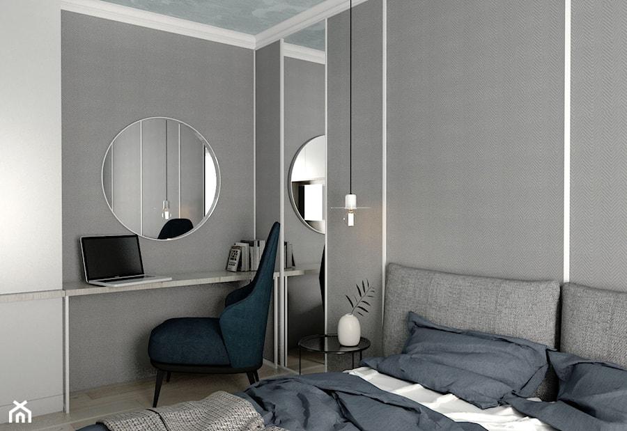 MIESZKANIE - GDAŃSK - NADMORSKIE - Mała szara sypialnia małżeńska, styl nowojorski - zdjęcie od Autors.KA