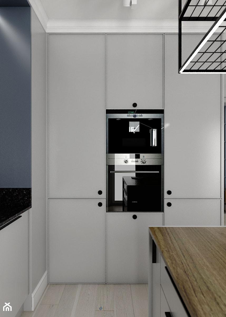 MIESZKANIE - GDAŃSK - NADMORSKIE - Mała zamknięta szara kuchnia w kształcie litery l z oknem - zdjęcie od Autors.KA