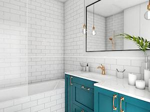 Mieszkanie - Gdańsk Oliwa - Mała biała łazienka na poddaszu w bloku w domu jednorodzinnym bez okna, styl skandynawski - zdjęcie od Autors.KA