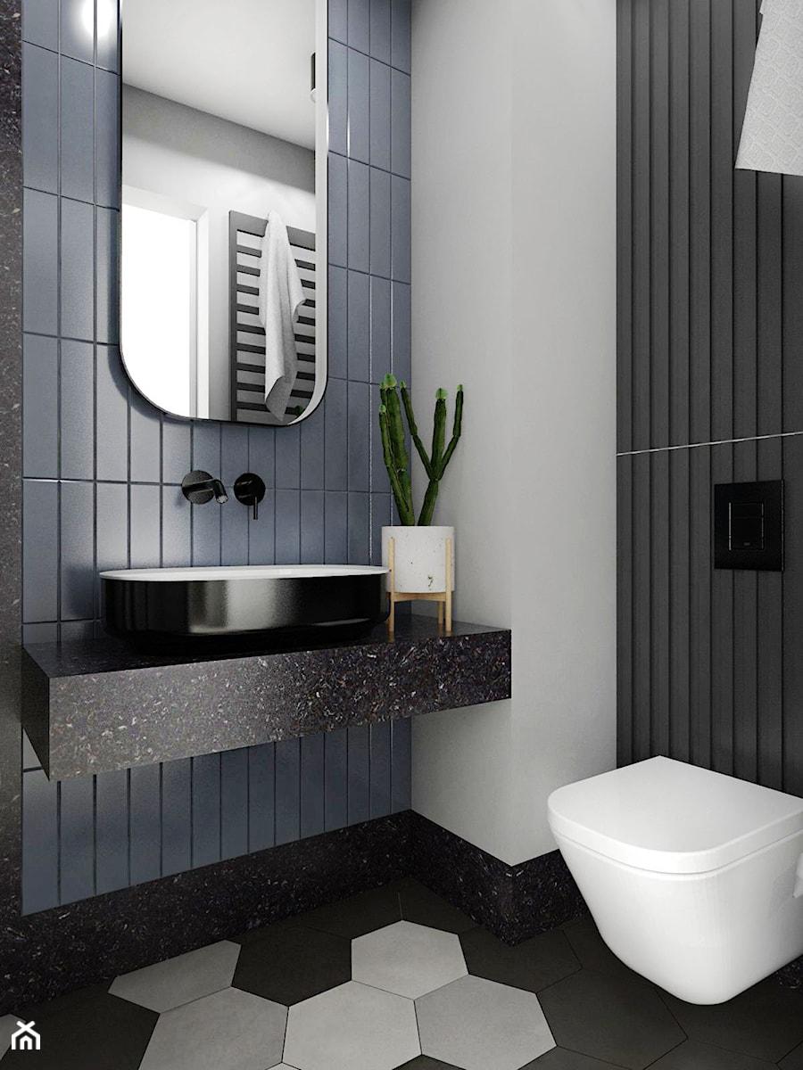 MIESZKANIE - GDAŃSK - NADMORSKIE - Mała szara łazienka w bloku w domu jednorodzinnym bez okna, styl industrialny - zdjęcie od Autors.KA