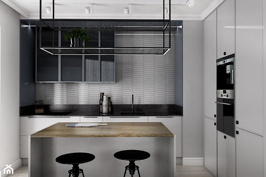 MIESZKANIE - GDAŃSK - NADMORSKIE - Średnia zamknięta szara kuchnia w kształcie litery l z wyspą, styl industrialny - zdjęcie od Autors.KA