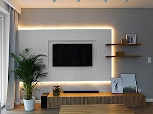 Mieszkanie - Gdynia Wielki Kack - Mały szary biały salon, styl skandynawski - zdjęcie od Autors.KA