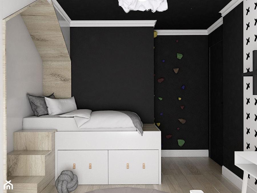 MIESZKANIE - GDAŃSK - NADMORSKIE - Średni szary czarny pokój dziecka dla chłopca dla dziewczynki dla ucznia dla nastolatka, styl skandynawski - zdjęcie od Autors.KA
