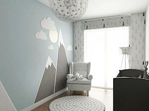 Mieszkanie - Reda - Mały biały niebieski pokój dziecka dla chłopca dla dziewczynki dla niemowlaka, styl nowoczesny - zdjęcie od Autors.KA
