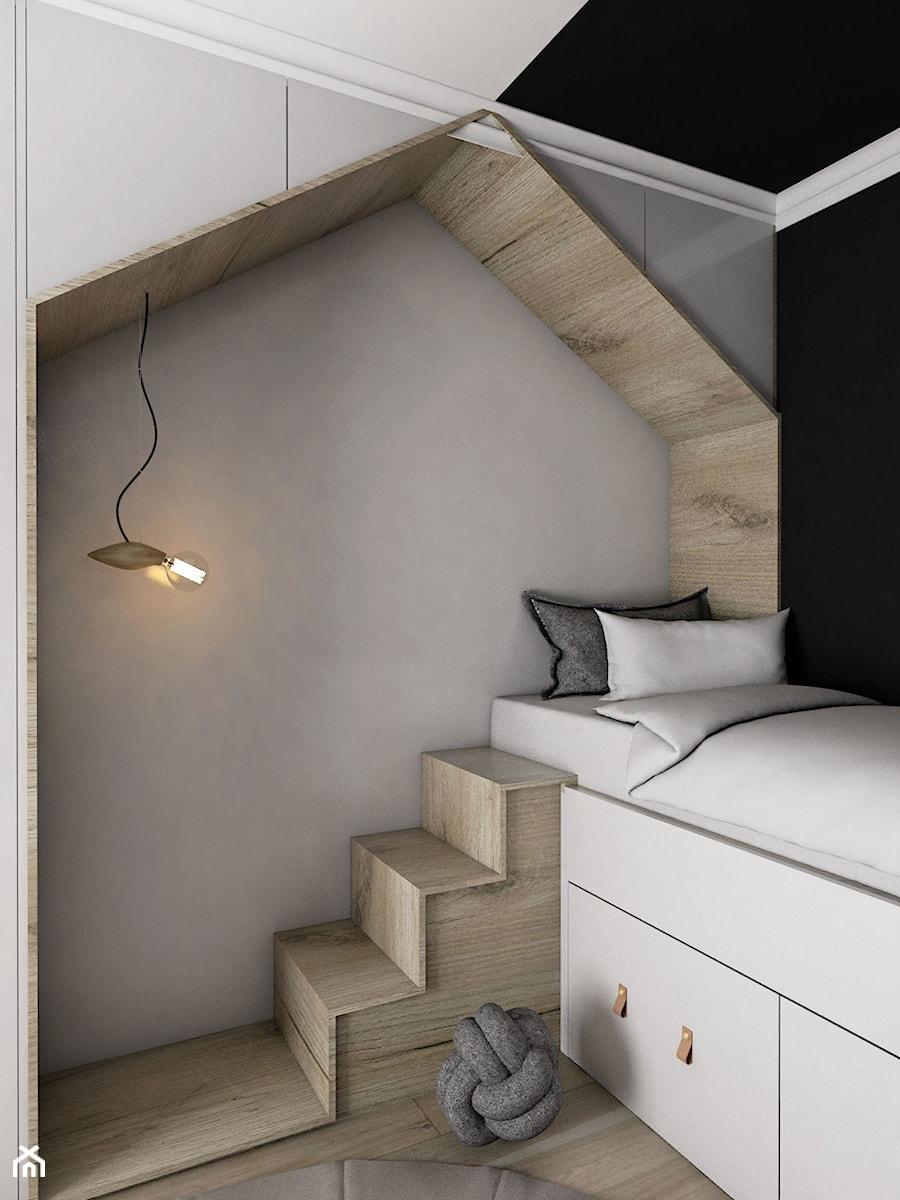 MIESZKANIE - GDAŃSK - NADMORSKIE - Mały szary czarny pokój dziecka dla chłopca dla dziewczynki dla malucha, styl skandynawski - zdjęcie od Autors.KA