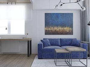Minimalistyczne mieszkanie z akcentem kolorystycznym - Średnie białe biuro kącik do pracy w pokoju, styl industrialny - zdjęcie od LEW ARCHITEKCI