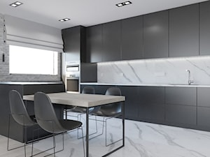 Luksusowe mieszkanie na wynajem 100m2 - Duża otwarta biała szara kuchnia dwurzędowa w aneksie z wyspą z oknem, styl nowoczesny - zdjęcie od LEW ARCHITEKCI