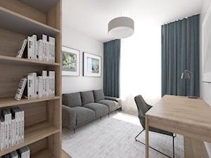 Ciepłe mieszkanie z dużą ilością drewna i niebieskich akcentów - Średnie białe biuro kącik do pracy w pokoju, styl minimalistyczny - zdjęcie od LEW ARCHITEKCI