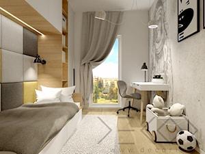 Pokój dziecięcy - Mały biały szary żółty pokój dziecka dla chłopca dla ucznia dla nastolatka - zdjęcie od Decoria