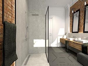 projekt łazienki w kamienicy - Duża biała łazienka w bloku w domu jednorodzinnym bez okna - zdjęcie od Decoria