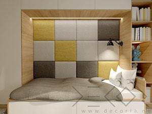 Pokój dziecięcy - Średni biały szary żółty pokój dziecka dla nastolatka - zdjęcie od Decoria