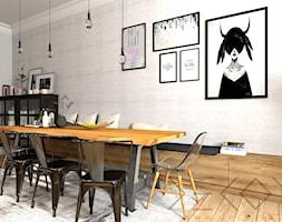 projekt kuchni w kamienicy - Średnia otwarta szara jadalnia jako osobne pomieszczenie - zdjęcie od Decoria
