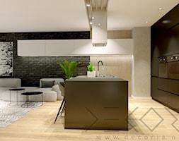 projekt wnętrza - Duży czarny salon z kuchnią z jadalnią - zdjęcie od Decoria