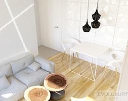 EVOLUXURY - APARTAMENT THE AVENUE - Mała otwarta biała szara jadalnia w salonie, styl minimalistyczny - zdjęcie od EVOLUXURY DESIGN ARKADIUSZ JASKOLSKI