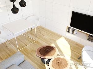 EVOLUXURY - APARTAMENT THE AVENUE - Średnia otwarta szara jadalnia w salonie, styl minimalistyczny - zdjęcie od EVOLUXURY DESIGN ARKADIUSZ JASKOLSKI