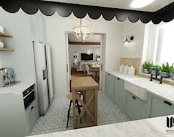 DOM - NDM - Średnia zamknięta szara kuchnia w kształcie litery l z wyspą z oknem, styl rustykalny - zdjęcie od Messyasz Design Lab