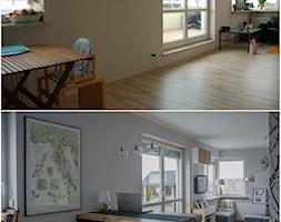 Metamorfoza mieszkania - Mała otwarta szara jadalnia w kuchni, styl nowoczesny - zdjęcie od Ra Barbar