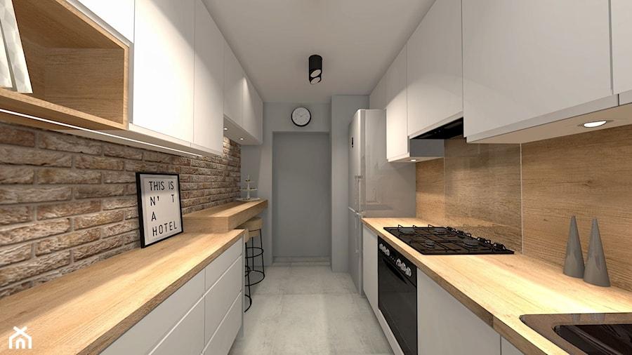 Projekty - Średnia zamknięta biała kuchnia dwurzędowa - zdjęcie od Domokreator - Magdalena Tylenda