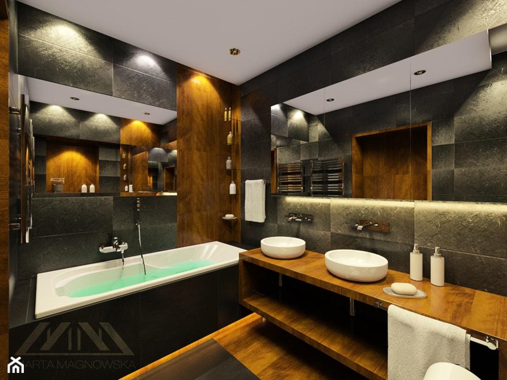Grafitowa łazienka - zdjęcie od Marta Magnowska - Projektowanie Wnętrz i Wizualizacje - Homebook