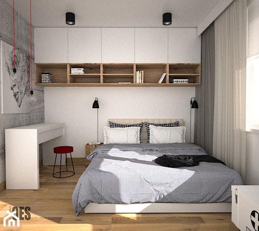 Minimalistyczna Sypialnia Z Zabudową Nad łóżkiem Mała