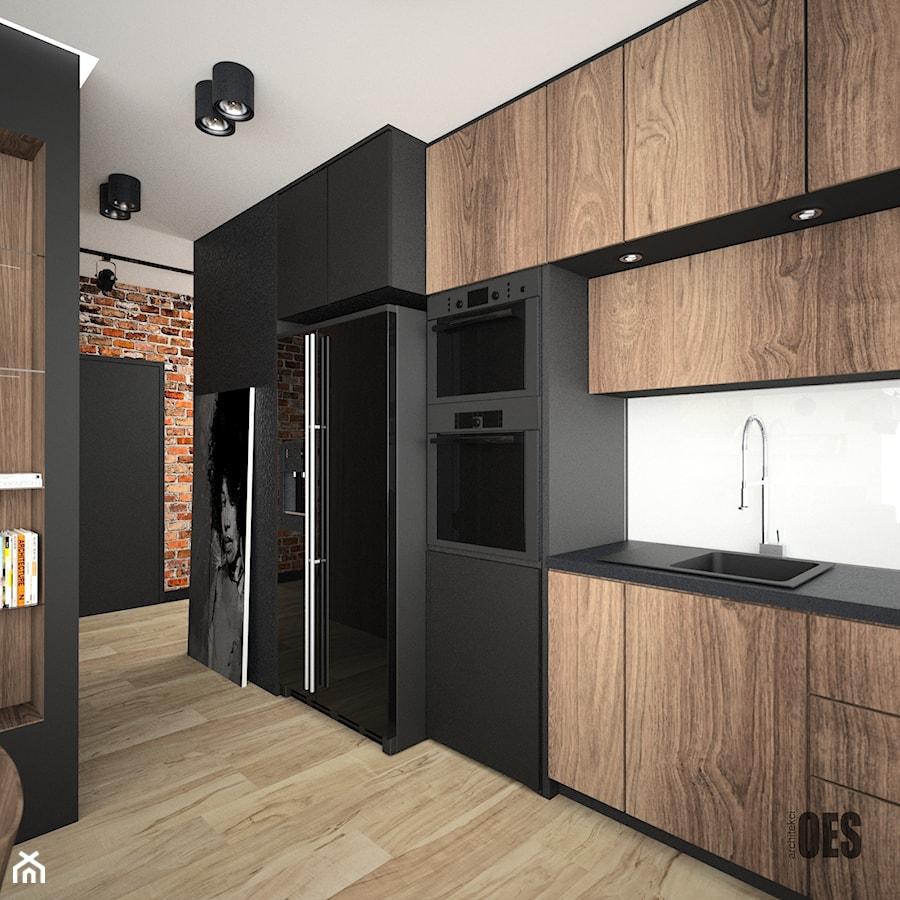 Motyw cegły we wnętrzu - Duża otwarta biała czarna brązowa kuchnia w kształcie litery u, styl nowoczesny - zdjęcie od OES architekci