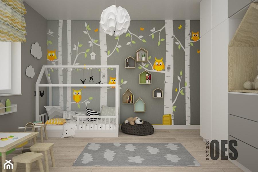 Aranżacje wnętrz - Pokój dziecka: Szaro żółty pokój dla dziecka - Średni szary pokój dziecka dla chłopca dla dziewczynki dla ucznia dla malucha, styl skandynawski - OES architekci. Przeglądaj, dodawaj i zapisuj najlepsze zdjęcia, pomysły i inspiracje designerskie. W bazie mamy już prawie milion fotografii!