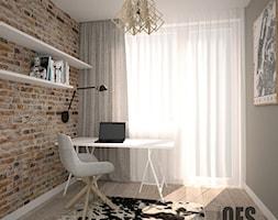 Cegła na ścianie pokój biurowy - Średnie szare biuro kącik do pracy w pokoju, styl skandynawski - zdjęcie od OES architekci
