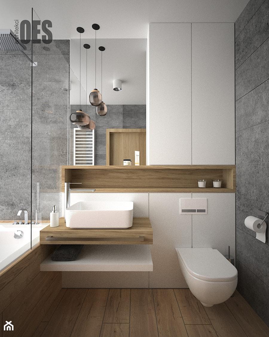 Biało Szara łazienka łazienka Styl Nowoczesny Zdjęcie