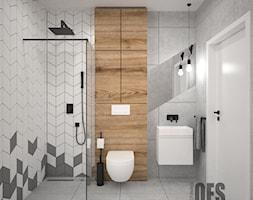 Szara łazienka - Średnia biała brązowa szara łazienka w bloku w domu jednorodzinnym bez okna, styl skandynawski - zdjęcie od OES architekci