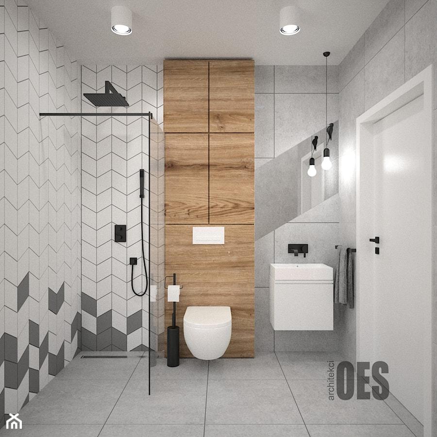 Szara łazienka średnia Biała Brązowa Szara łazienka W