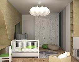 Zieleń w pokoju dziecka - Duży szary pokój dziecka dla chłopca dla dziewczynki dla niemowlaka, styl nowoczesny - zdjęcie od OES architekci