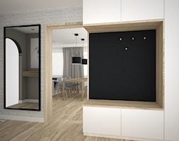 Siedzisko w przedpokoju - Duży biały szary hol / przedpokój, styl nowoczesny - zdjęcie od OES architekci