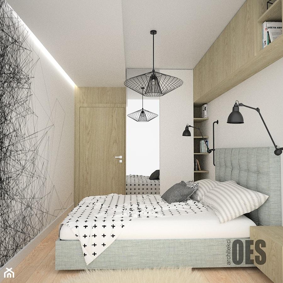 Skandynawska sypialnia - Średnia biała sypialnia małżeńska, styl skandynawski - zdjęcie od OES architekci
