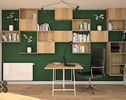 Pokój biurowy - Średnie zielone białe biuro domowe, styl nowoczesny - zdjęcie od OES architekci