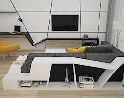 Żółte dodatki w salonie - Mały biały salon, styl nowoczesny - zdjęcie od OES architekci
