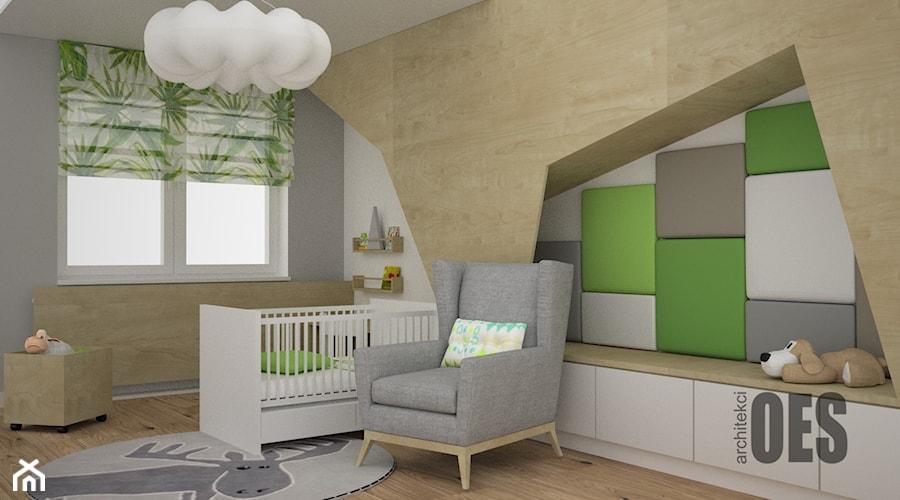 Aranżacje wnętrz - Pokój dziecka: Zieleń w pokoju dziecka - Mały szary pokój dziecka dla chłopca dla dziewczynki dla niemowlaka, styl nowoczesny - OES architekci. Przeglądaj, dodawaj i zapisuj najlepsze zdjęcia, pomysły i inspiracje designerskie. W bazie mamy już prawie milion fotografii!