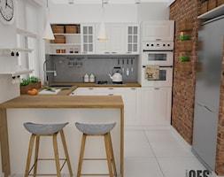 Kuchnia w stylu skandynawskim - Średnia otwarta biała szara czerwona kuchnia w kształcie litery g, styl skandynawski - zdjęcie od OES architekci