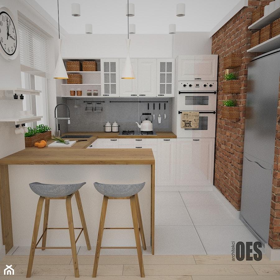 Kuchnia w stylu skandynawskim  Średnia otwarta kuchnia w kształcie litery g,