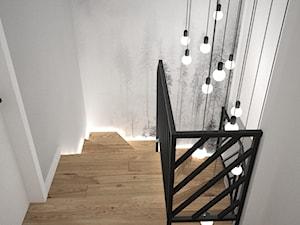 Biało szary przedpokój - Małe średnie wąskie schody dwubiegowe zabiegowe drewniane, styl skandynawski - zdjęcie od OES architekci
