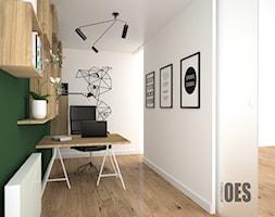 Pokój biurowy - Małe zielone białe biuro kącik do pracy, styl nowoczesny - zdjęcie od OES architekci