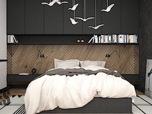 Drewno za łóżkiem w sypialni
